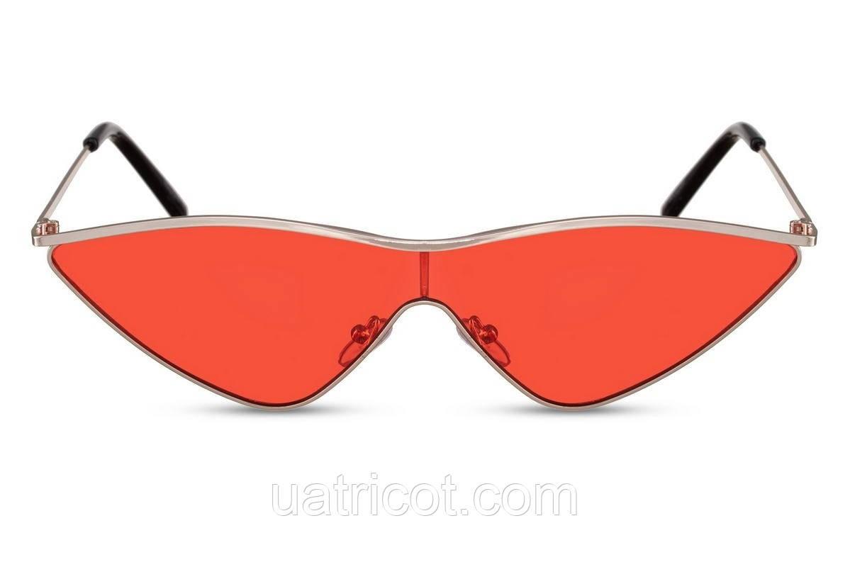 Женские солнцезащитные очки лисички в золотой металлической оправе с красными линзами