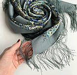 Розмарин 1850-1, павлопосадский платок шерстяной  с шелковой бахромой, фото 3