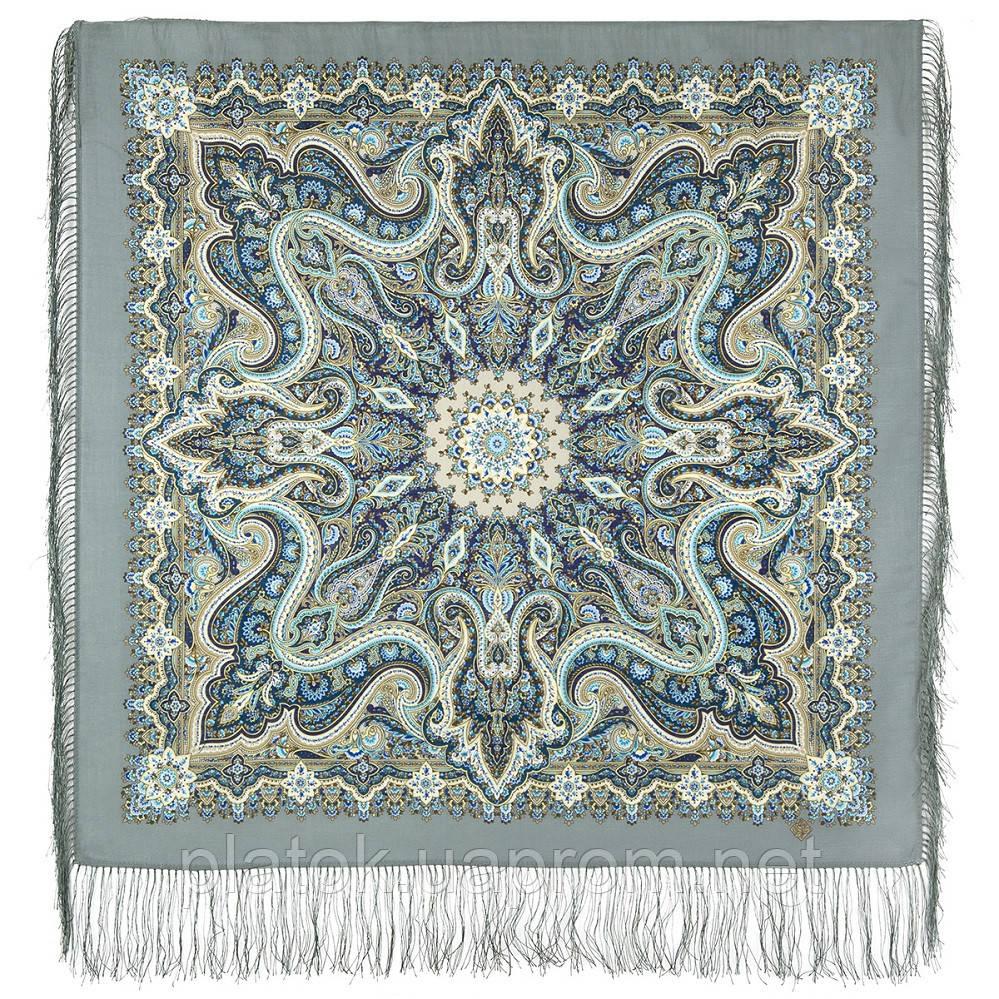 Розмарин 1850-1, павлопосадский платок шерстяной  с шелковой бахромой