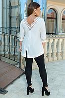 Жіночий костюм з білою ажурною тунікою, з 50-60 розмір, фото 1