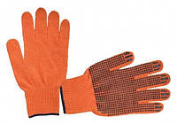 Перчатки трикотажные  ХБ/ПЭ, натур. цвет, класс вязки 10, оранжевый цвет, черная ПВХ точка на одной стороне