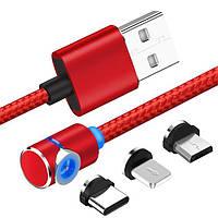 Магнитный кабель USB XoKo SC-370 Magneto Game Red 3 в 1 - Lightning, Micro USB, Type-C 1 м