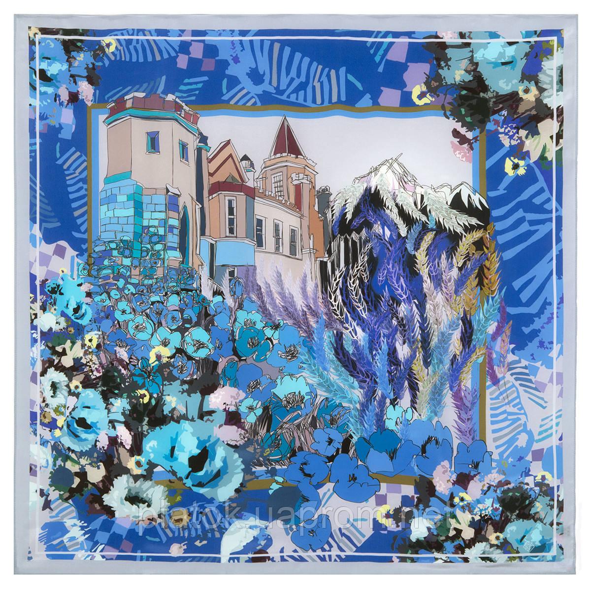 10121 платок шелковый (крепдешин) 10121-14, павлопосадский платок (крепдешин) шелковый с подрубкой
