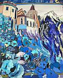 10121 платок шелковый (крепдешин) 10121-14, павлопосадский платок (крепдешин) шелковый с подрубкой, фото 10