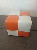 Пуф Рио белый с оранжевым,пуфик,пуфики,пуф кожзам,пуф экокожа,банкетка,банкетки,пуф куб,пуф фото, фото 5