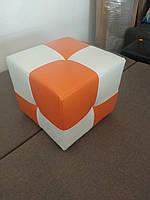 Пуф Рио белый с оранжевым,пуфик,пуфики,пуф кожзам,пуф экокожа,банкетка,банкетки,пуф куб,пуф фото, фото 6