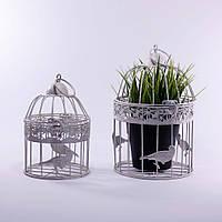 Клетки декоративные, круглые, набор 2 шт., с кольцом для подвешивания, металл, бежевый