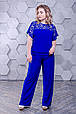 Летний женский костюм  размер плюс Флорина электрик (52-66), фото 4