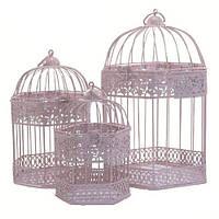 Клетки декоративные, шестикутные, набор 3 шт., с кольцом для подвешивания, металл, розовый