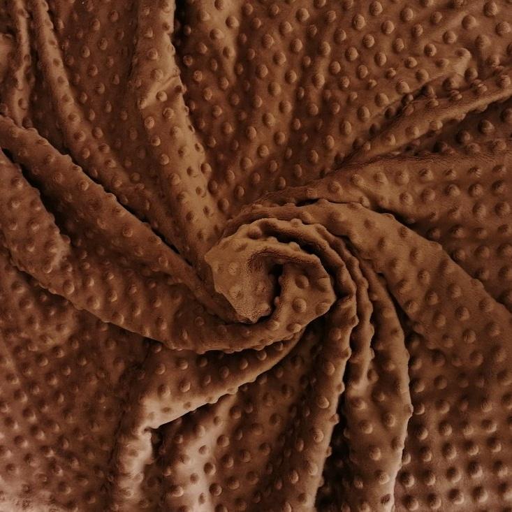Плюш минки точка коричневый плотность 360 г/м2