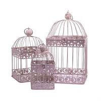 Клетки декоративные, квадратные, набор 3 шт., с кольцом для подвешивания, металл, розовый