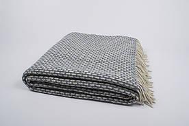 Вовняний Плед Vladi - Рогожка біло-сірий 140*200 полуторний