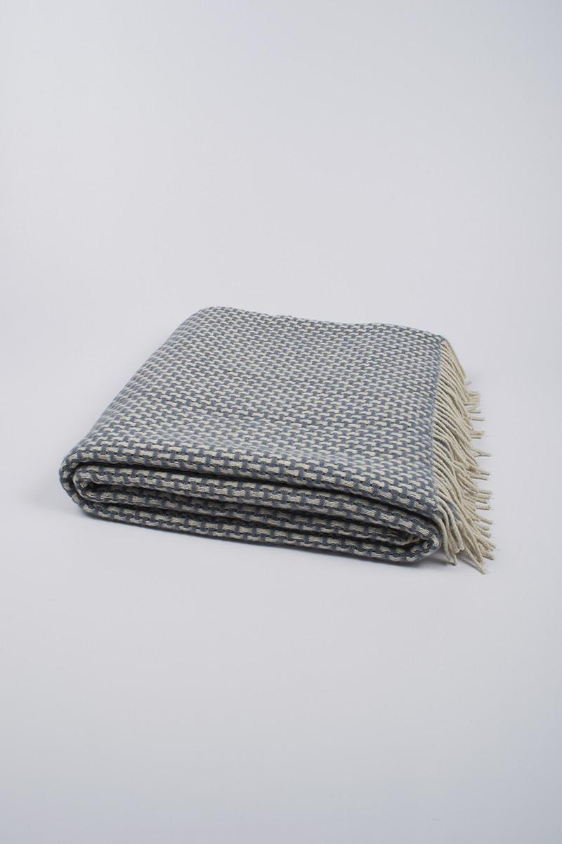Плед шерстяной Vladi - Рогожка бело-серый 170*210 двуспальный