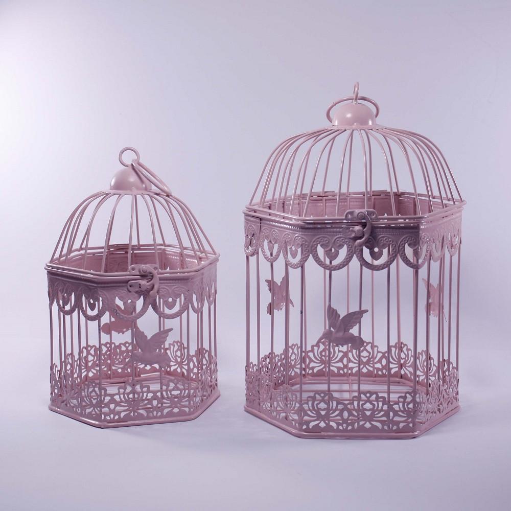 Клетки декоративные, шестиугольные, набор 2 шт., с кольцом для подвешивания, металл, розовый