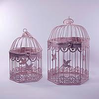 Клетки декоративные, шестикутные, набор 2 шт., с кольцом для подвешивания, металл, розовый