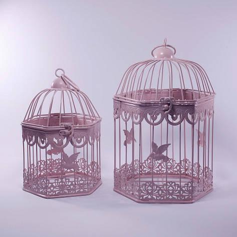 Клетки декоративные, шестиугольные, набор 2 шт., с кольцом для подвешивания, металл, розовый, фото 2