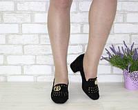Черные туфли на маленьком каблуке замша