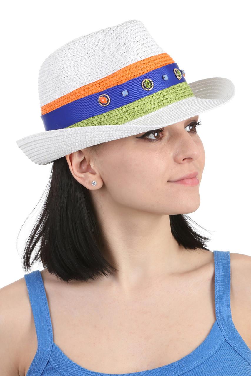 Шляпа трилби белая