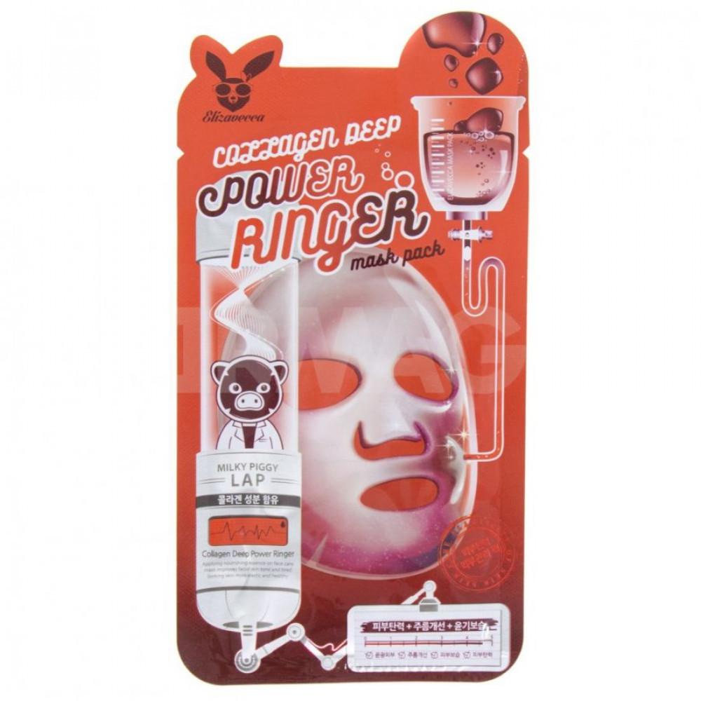 Тканевая маска для лица с коллагеном Elizavecca Collagen Deep Power Mask Pack