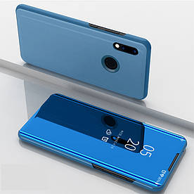 Чехол книжка для Huawei Honor 10 Lite боковой с зеркальной крышкой, Голубой