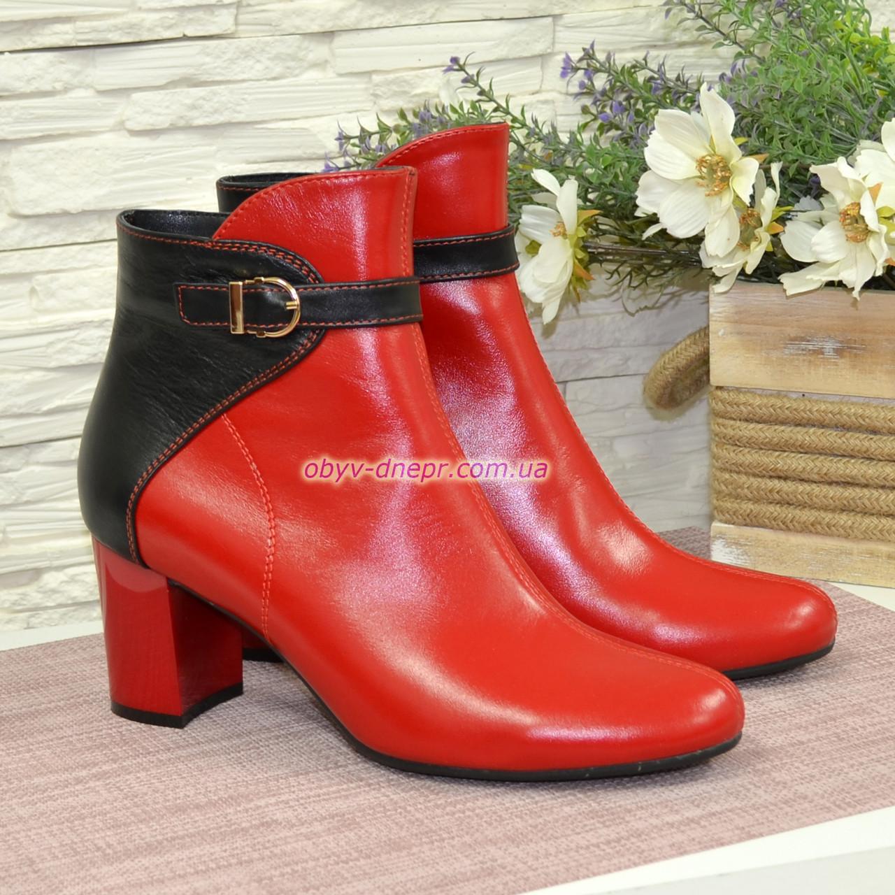 Ботинки зимние кожаные на невысоком каблуке, цвет красный/черный
