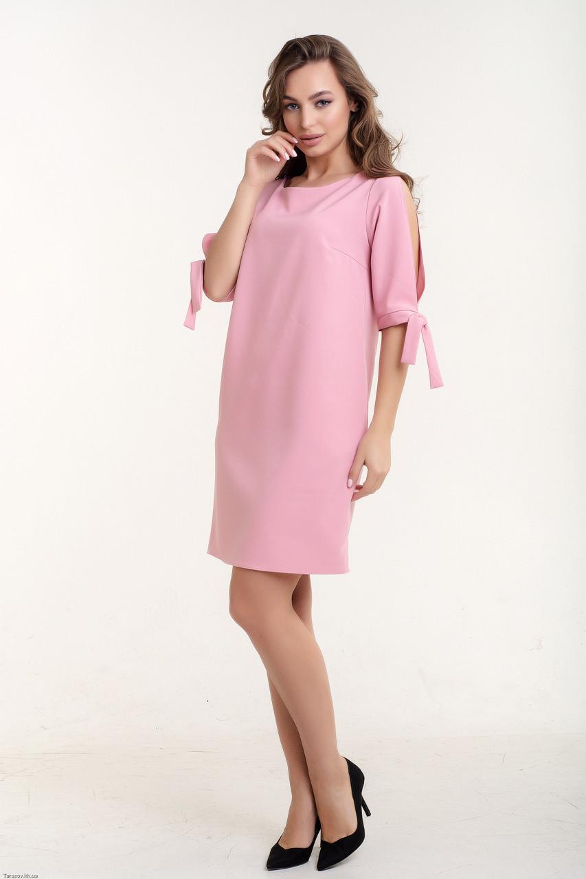 Красивое молодежное платье Мила розовый(44-46)