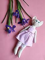 Мягкая игрушка ручной работы Кошка Лулу в розовом сарафане