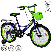 Велосипед детский 2-х двухколесный 18 дюймов с дополнительными колесами CORSO синий для детей от 4 до 7 лет