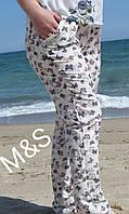 Женские брюки летние 217 софт (42 44 46 48) (цвет белые бабочки) СП