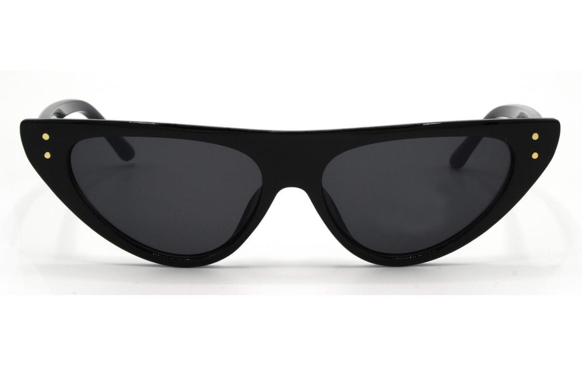 Женские солнцезащитные очки лисички в черной оправе со смоки линзами