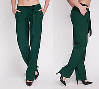 💠Брюки женские лён темно зеленые Брюки ровные с поясом, фото 1