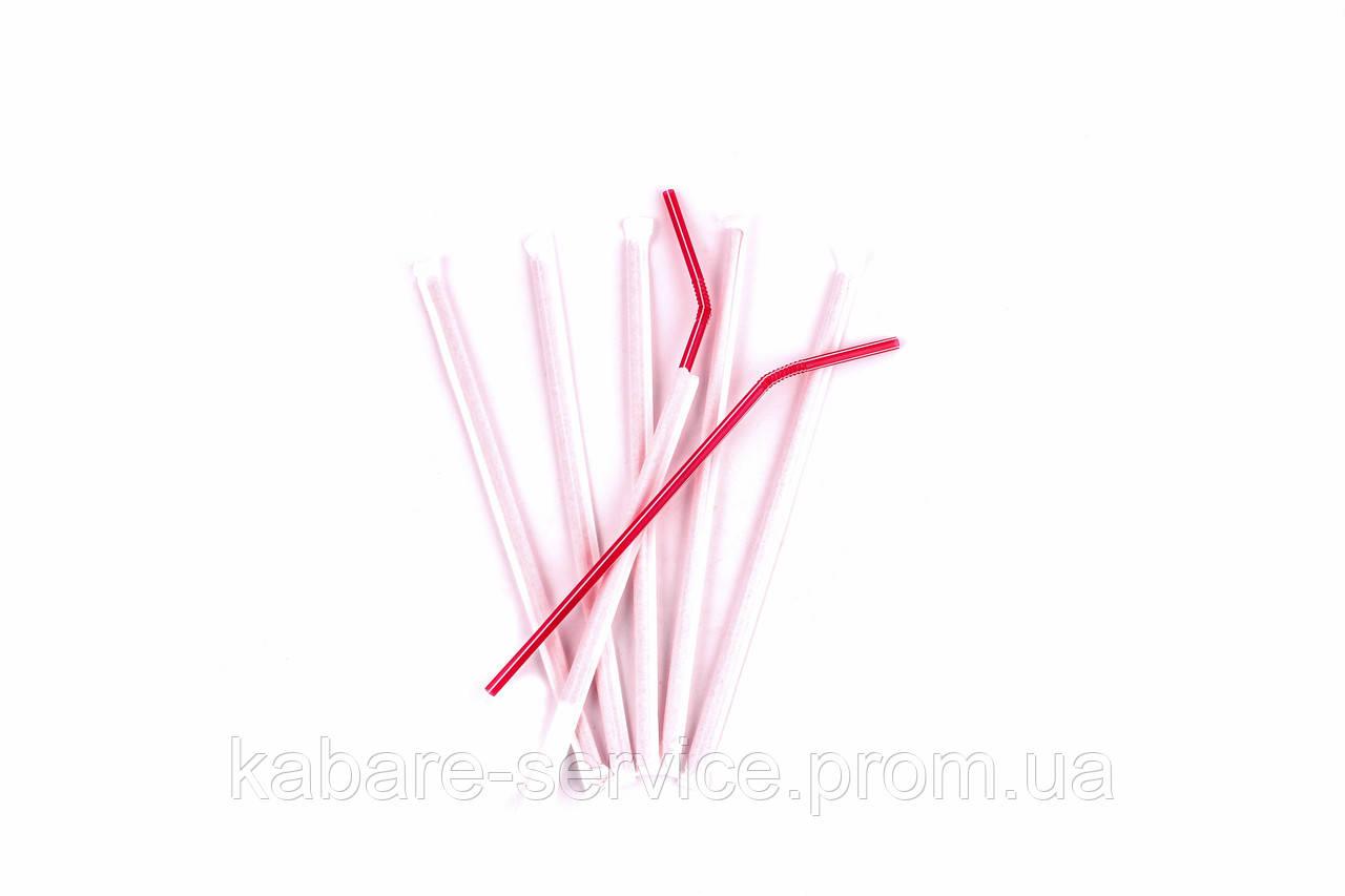 Трубочка в индивидуальной упаковке(красная ) 20 см 5 мм 100 шт