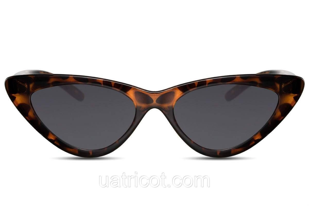 Женские солнцезащитные очки лисички в коричневой оправе со смоки линзами