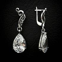 Серебряные серьги-подвески Капли, фото 2
