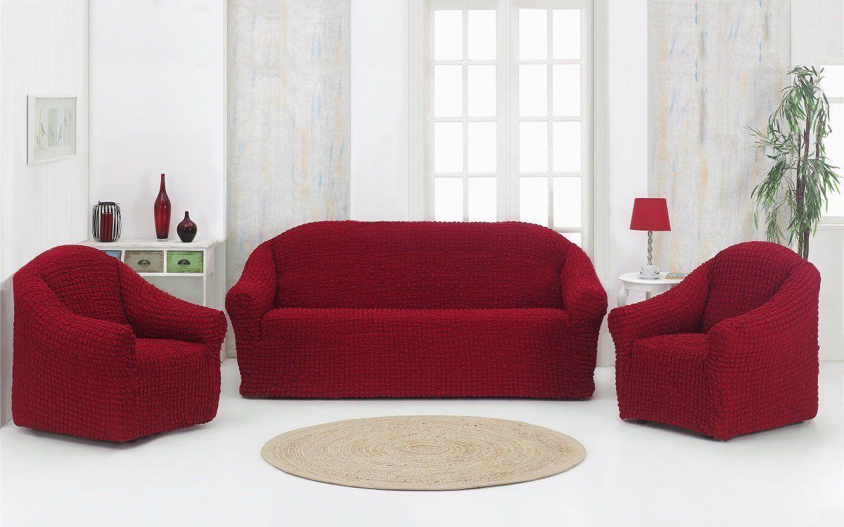 Чехол на диван и 2 кресла без юбки Altinkoza Bordo