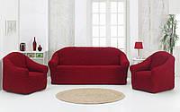 Чехол на диван и 2 кресла без юбки Altinkoza Bordo, фото 1