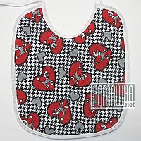 Детский непромокаемый слюнявчик (нагрудник) для мальчика или девочки с завязками 4691 Красный