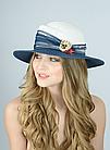 Женская шляпа федора белая с синим, фото 3