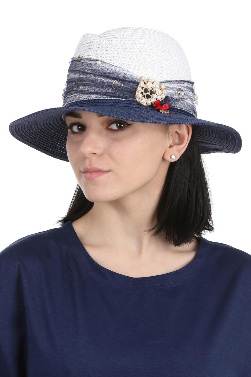 Женская шляпа федора белая с синим