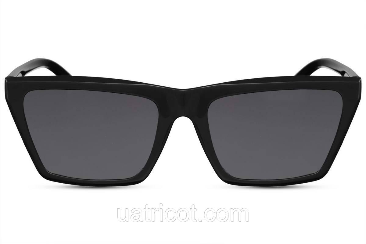 Женские солнцезащитные очки маска в черной оправе с черными линзами