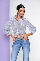 Женская хлопковая рубашка с воротником-стойкой и рукавом 3/4 на узкой манжете.