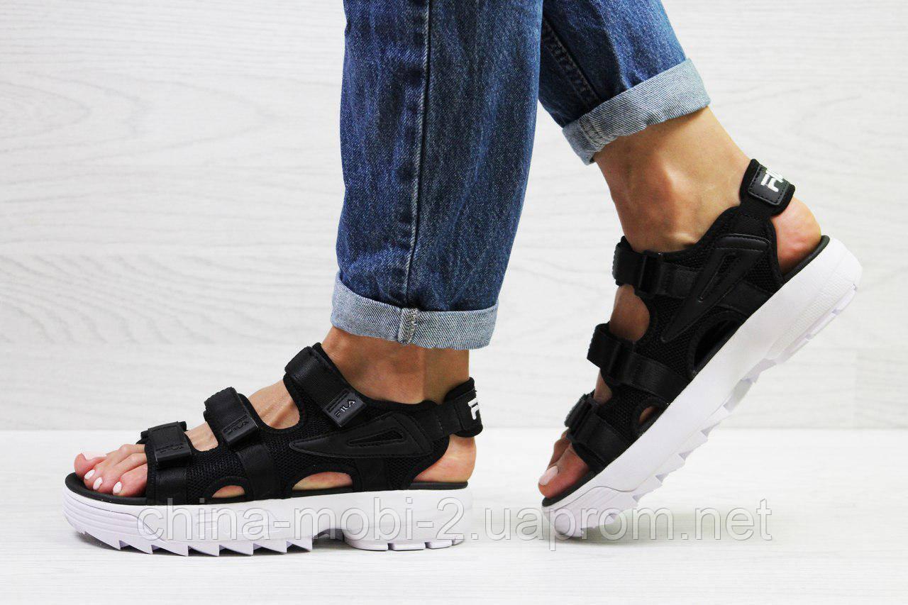Женские сандалии  Fila, черные (Топ реплика ААА+) 5301