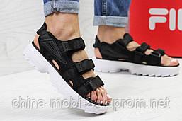 Женские сандалии  Fila, черные (Топ реплика ААА+) 5301, фото 2