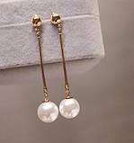 Довгі сережки жіночі з перлами, фото 2