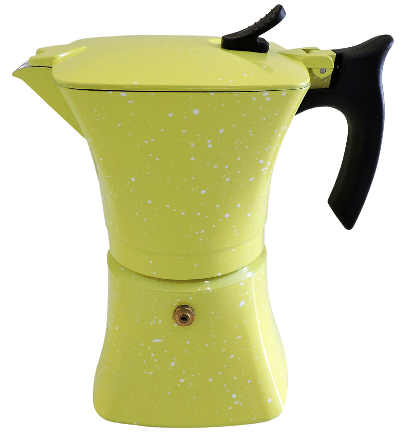 Гейзерна кавоварка Moka Crem жовта, 150мл., на 3 чашки (853)