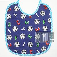 Детский непромокаемый слюнявчик (нагрудник) для мальчика с завязками 4691 Синий, фото 1