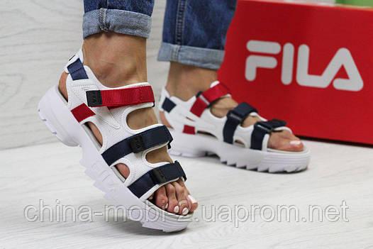 Женские сандалии  Fila, белые с синим и красным (Топ реплика ААА+) 5302, фото 2