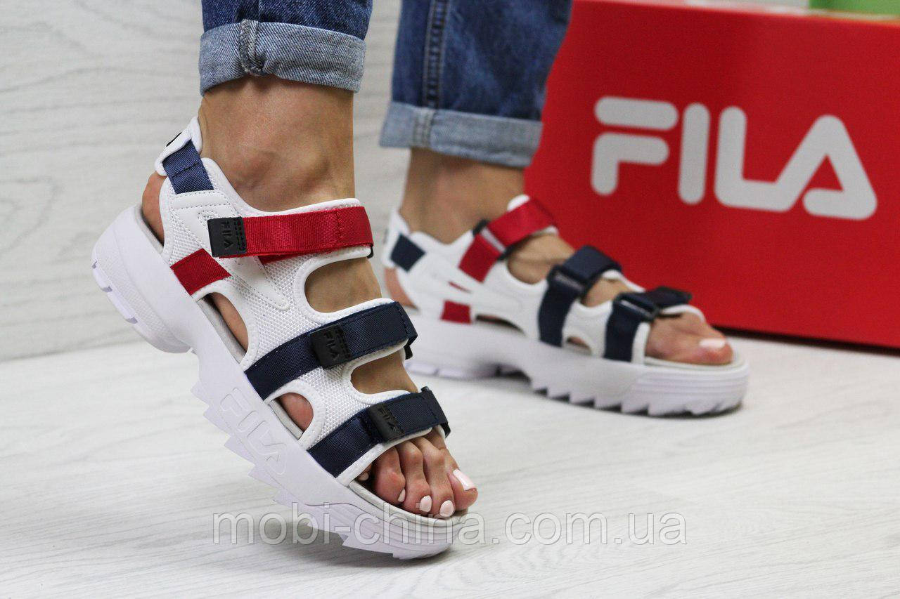 Женские сандалии  Fila, белые с синим и красным (Топ реплика ААА+) 5302