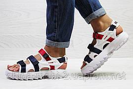 Женские сандалии  Fila, белые с синим и красным (Топ реплика ААА+) 5302, фото 3