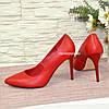 Туфли женские на высоком каблуке, красная кожа, фото 3